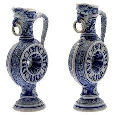 Pair 19th Century Westerwald German Salt Glaze Stoneware Ewers