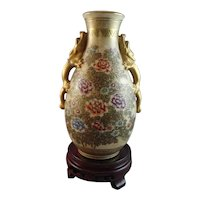 Beautifully Painted Floral Satsuma Vase with Dragon Handles