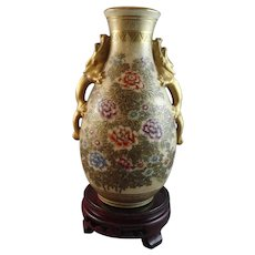 Beautifully Painted Floral Satsuma Vase with Dragon Handles