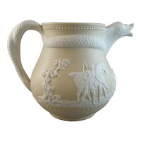 Early Staffordshire Caneware Pitcher with Dolphin Spout