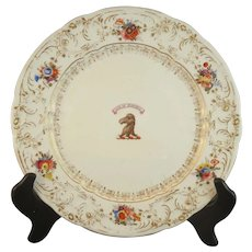 "Set of 5 19th Century Davenport Armorial Dinner Plates - Fullerton Crest  - ""Lux in Tenebris"""