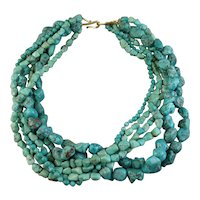 Gurhan Six-Strand Turquoise Bead & 24K Gold Necklace