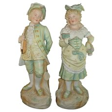 Beautiful Pair German Bisque Figurines Heubach