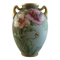 Antique Hand Painted Nippon Moriage Floral Vase Green M Wreath Mark