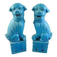 Vintage Pair Chinese Turquoise Foo Dogs Lions