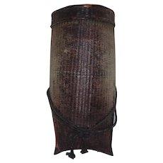 Antique Burmese Lacquered Rattan Honey Basket with Original Locking Hardware