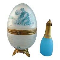 Antique Palais Royal Egg Casket & Blue Opaline Scent Bottle, Ormolu Mounts