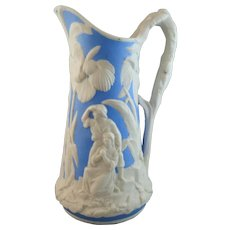 Beautiful 19th Century Relief Molded Jug - Paul and Virginia