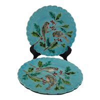 Pair Sarreguemines Majolica Bird Plates on Turquoise Ground