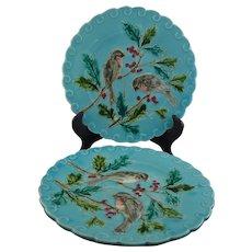 Pair Sarreguemines Majolica Bird Plates on Turquoise Ground