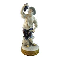 19th Century Capodimonte Naples Figure Italian Peasant Grape Harvest