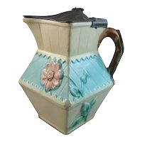 English Majolica Syrup Pitcher with Pewter Lid