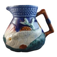 English Majolica Cobalt Fish and Shell Creamer