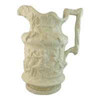 Gorgeous Charles Meigh Relief Moulded Bacchanalian Dance Jug, 1844