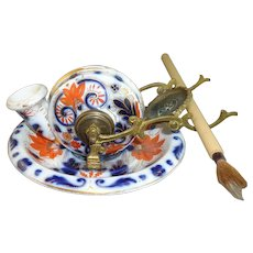 Antique Early 19th Century English Imari Inkwell, probably Coalport