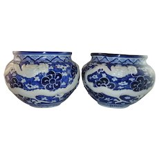 Antique Pair Chinese Blue & White Jardiniere with Dragon Relief, One with Old Staple Repair