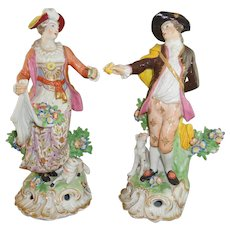 Antique Pair Chelsea 18th Century Figures with Red Anchor Mark