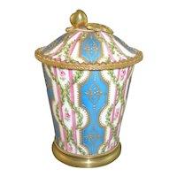 Beautiful Sevres Bleu Celeste & Ormolu Covered Pot de Creme, circa 1805