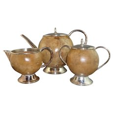 Carved Coconut Tea Set with Silver Mounts