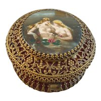 Gorgeous Antique French Cranberry Glass Dresser Jar with Dore Bronze Mounts & Nude Porcelain Medallion