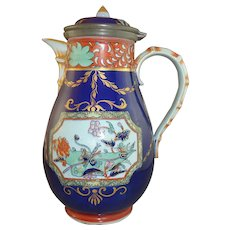 Rare 19th Century Ashworth Mason's Ironstone Lidded Pitcher with Pewter Mounts