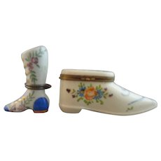 Pair of French Limoges Porcelain Shoe Snuff Boxes