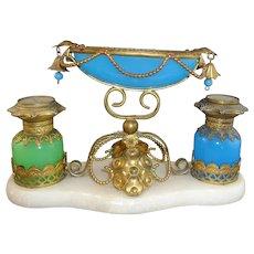 Beautiful Antique Palais Royal Opaline Glass Perfume Set