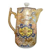 Gorgeous Antique Japanese Sake Pot with Rich Gilt Decoration, Signed