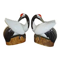 Gorgeous Pair Chinese Porcelain Cranes with Seal Mark