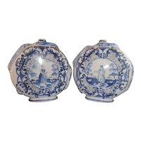 Pair 18th Century Delft Moon Flasks Vases with Snake Application
