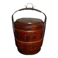 Antique 19th Century Chinese Lacquer 3-Piece Wedding Basket