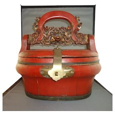 Antique 19th Century Red Chinese Wedding Basket with Carved Gilded Handle