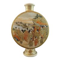 Beautiful Meiji Japanese Satsuma Kinkozan Moon Flask