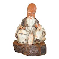 Vintage Signed Porcelain Chinese Immortal Figure Shou Lao on Fitted Wood Stand