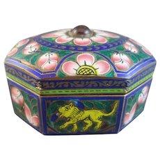 Champleve Enamel Cloisonne Jeweled Pill Box