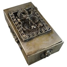 A Chinese Silver Metal Match Safe Snuff Box with Dragon Decoration, Signed