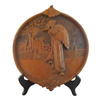 Well Carved Chinese Wood Plaque Panel of Immortal