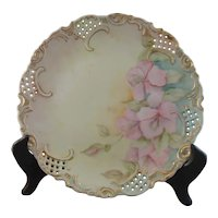 Pretty Limoges Porcelain Reticulated Cabinet Plate
