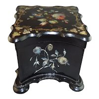 Beautiful Antique Papier Mache & Mother of Pearl Tea Caddy with Original Key