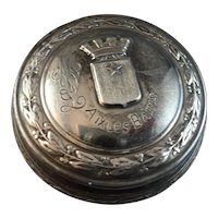 Antique 19th Century French Sterling Snuff Box with Aix Les Bains Crest