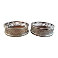 Pair of British Gainsborough Silver-plate Reticulated Wine Coasters
