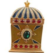 Gorgeous Wendy Reed Swarovski Crystal 14 Karat Gold Enameled Box
