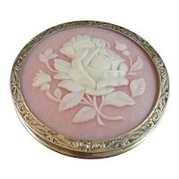 Beautiful Russian Silver Carved Rose Cameo Compact