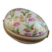 Pretty Floral Limoges Porcelain Egg Shaped Box, Signed Evy