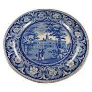 Historic Staffordshire Blue & White Plate, City Hall, New York, Ridgway