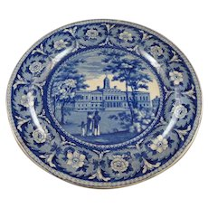 Historic Staffordshire Blue & White Plate, City Hall, New York, Ridgway