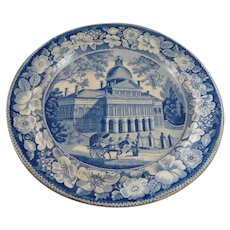 Historic Staffordshire Blue & White Plate, Boston State House, Enoch Wood