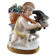 Chelsea Porcelain Figure of Putti and Goat