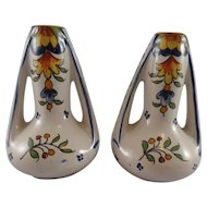 Matched Pair French Faience Hand Painted Vases