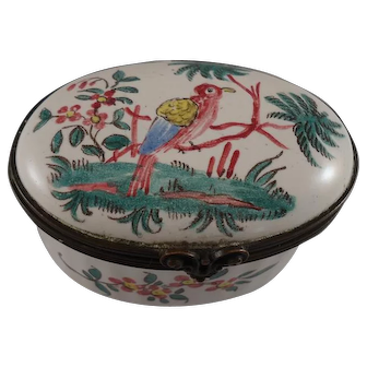 Circa 1780 French Faience Patch Box, Aprey